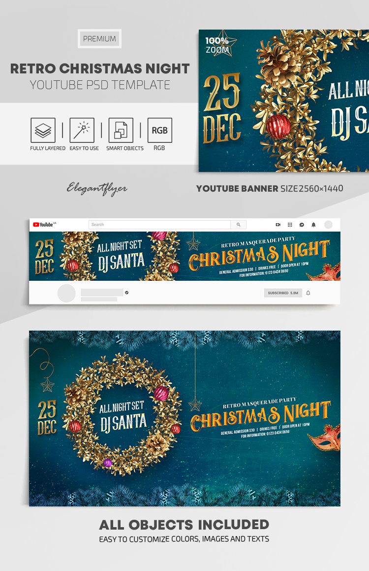 Retro Christmas Night – Youtube Channel banner PSD Template
