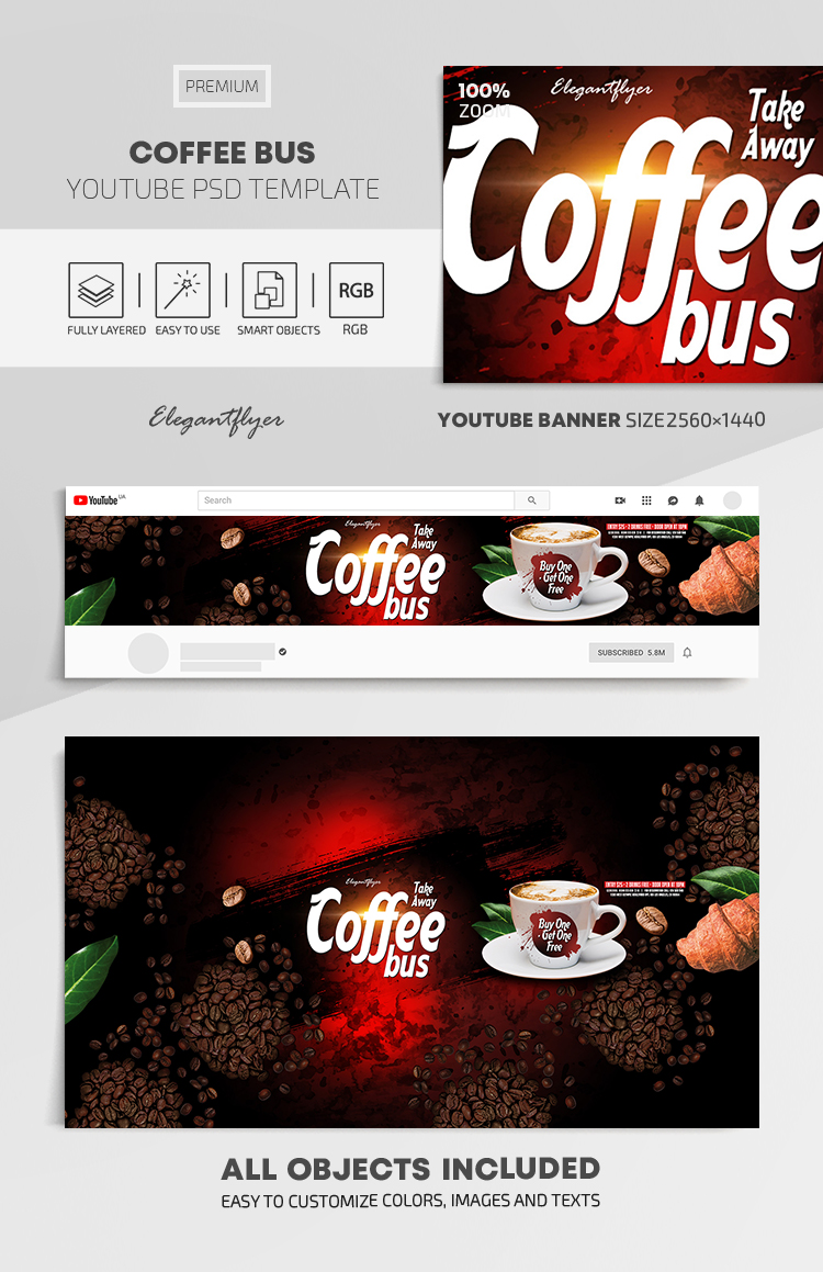 Take Away. Coffee Bus. Buy One – Get One Free – Youtube Channel banner PSD Template