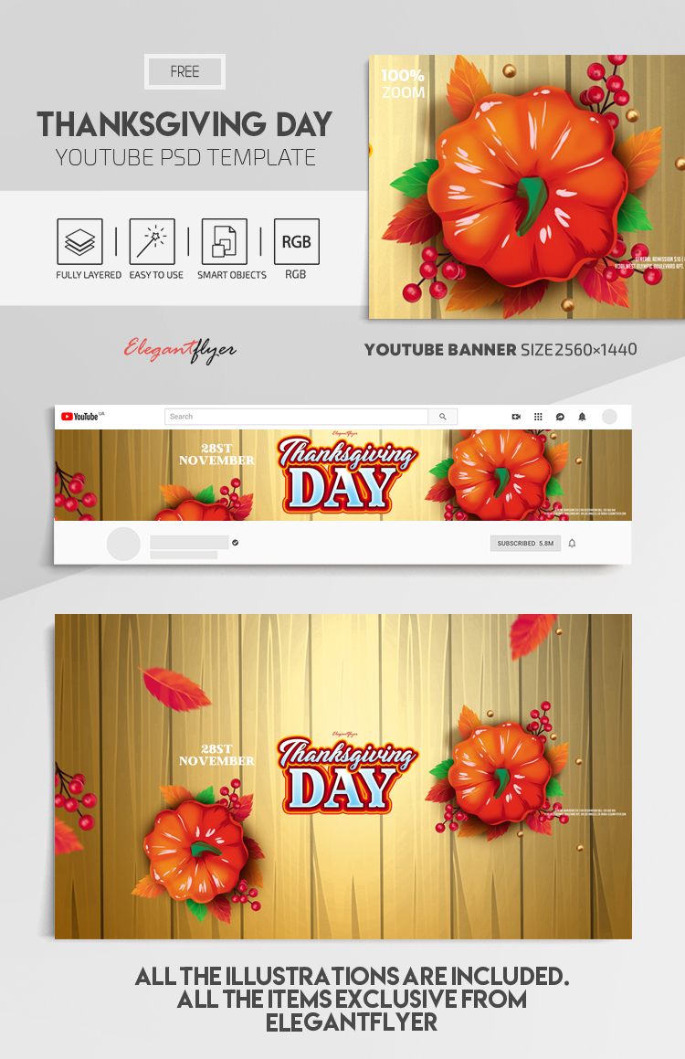 Thanksgiving Day – Free Youtube Channel banner PSD Template