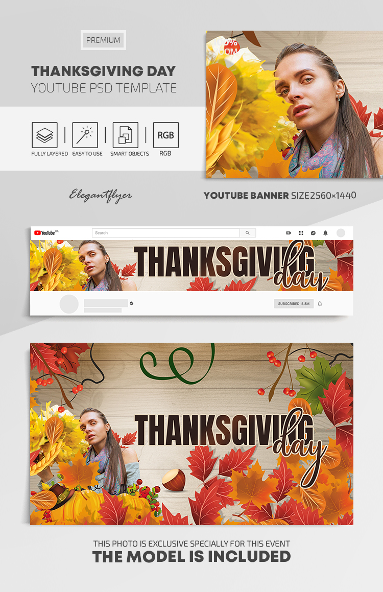 Thanksgiving Day – Youtube Channel banner Premium PSD Template