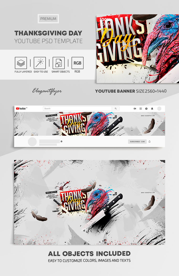Thanksgiving Day – Youtube Channel banner PSD Template