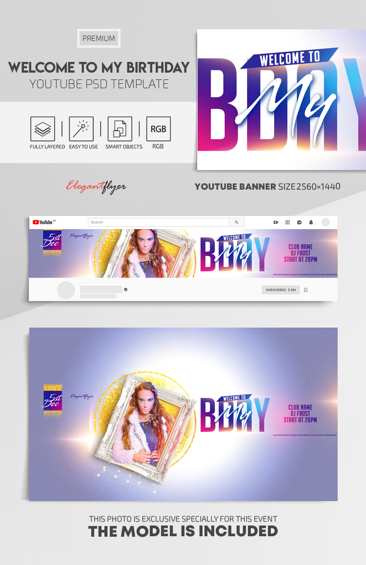 Welcome to My Birthday! – Youtube Channel banner PSD Template