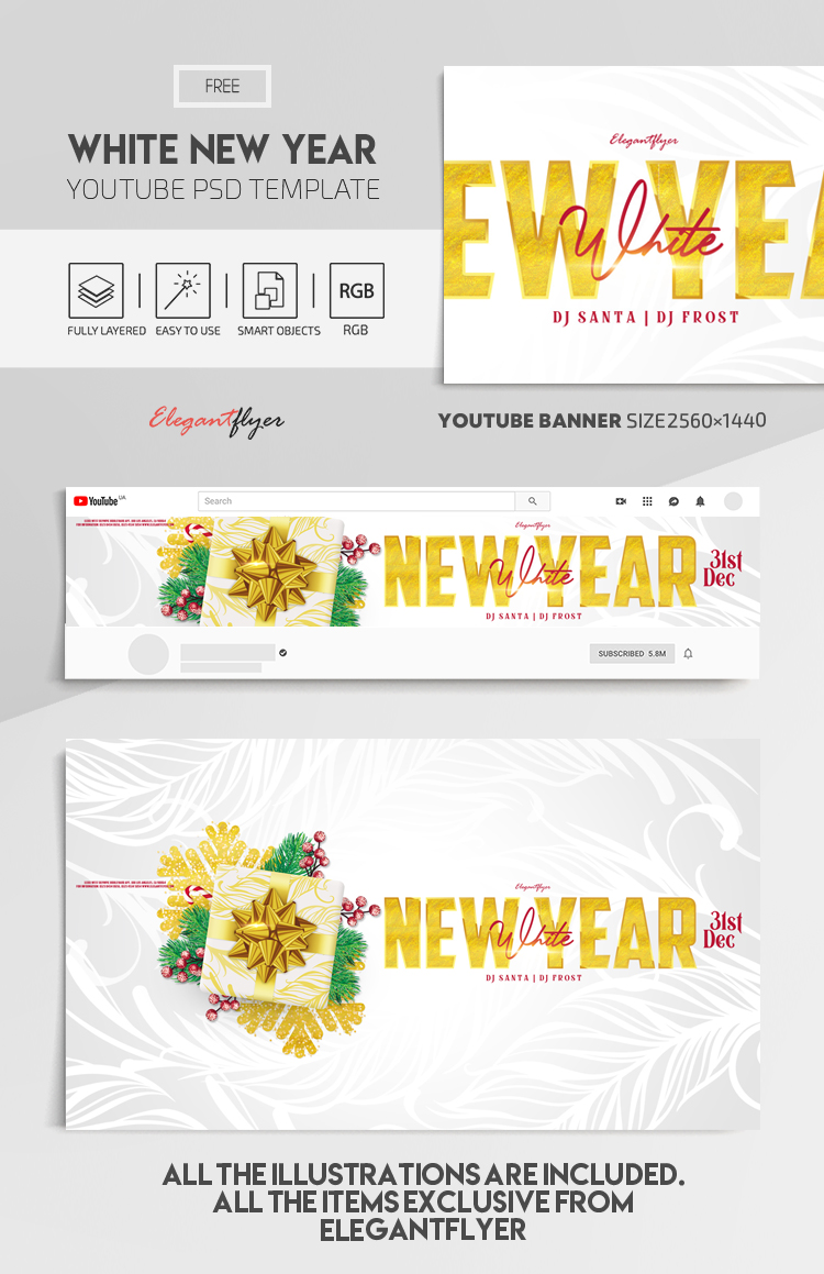 White New Year Party – Free Youtube Channel banner PSD Template