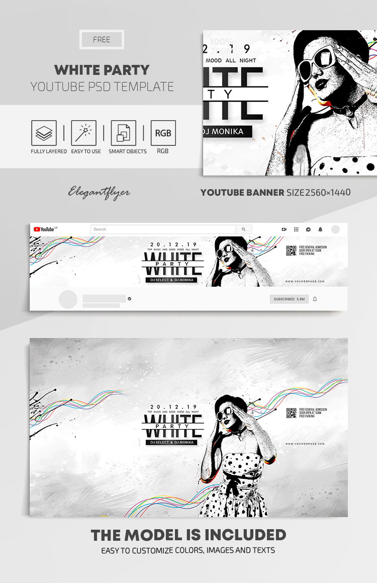 White Party – Free Youtube Channel banner PSD Template