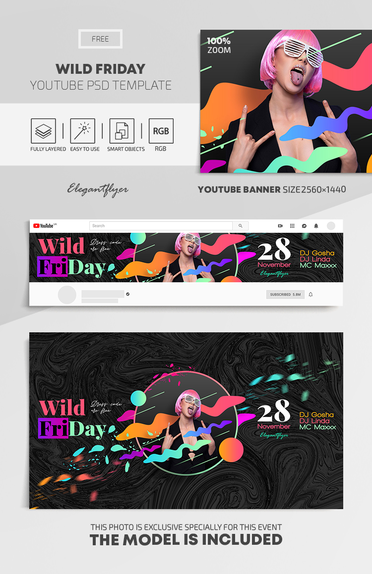 Wild Friday – Free Youtube Channel banner PSD Template