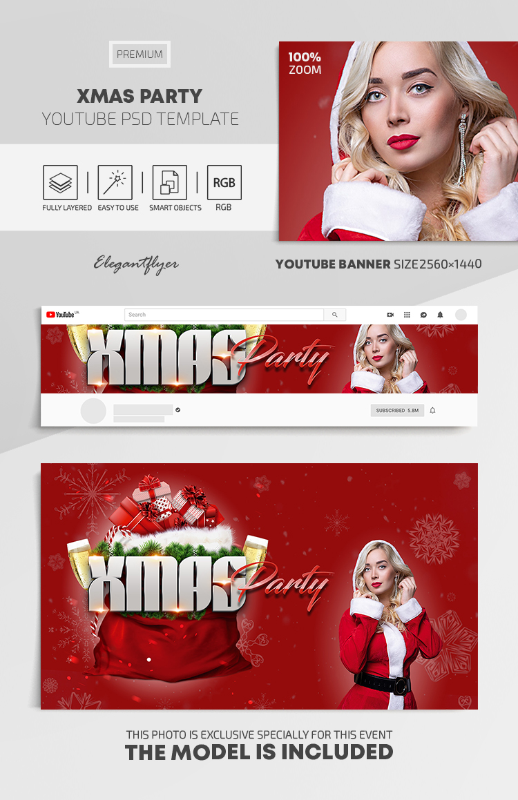 Xmas Party – Youtube Channel banner PSD Template