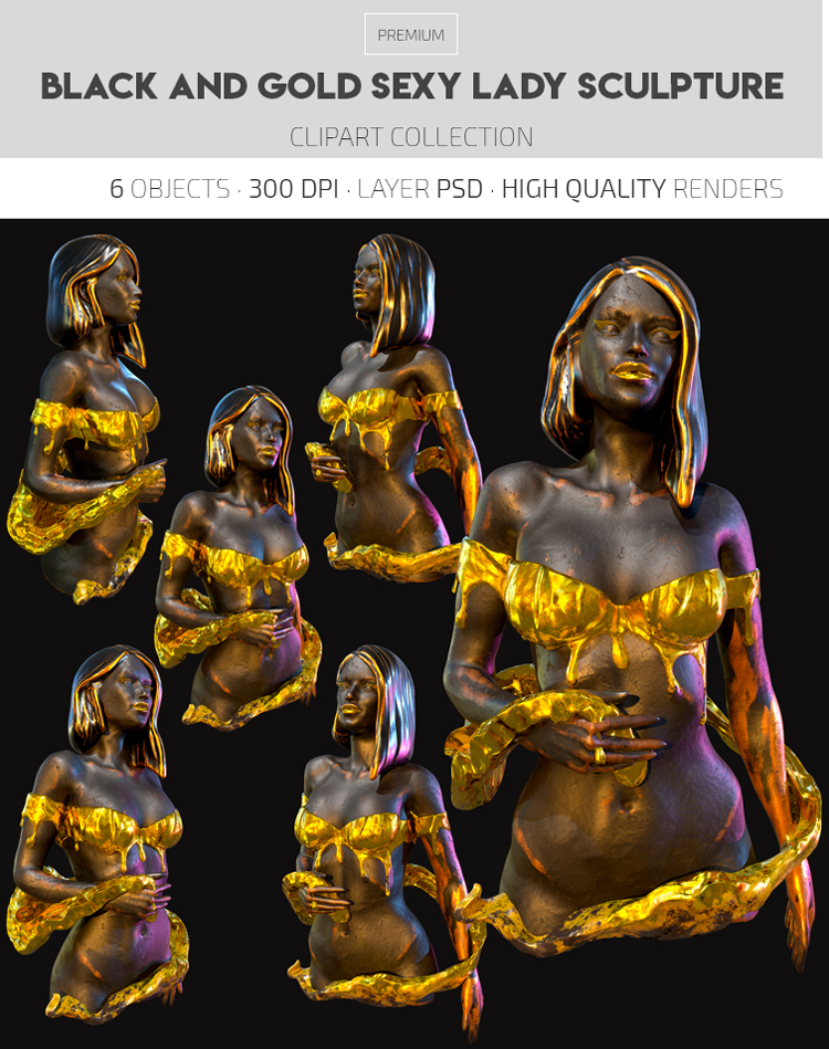 Black and Gold Sexy Lady Sculpture – Premium 3d Render Templates
