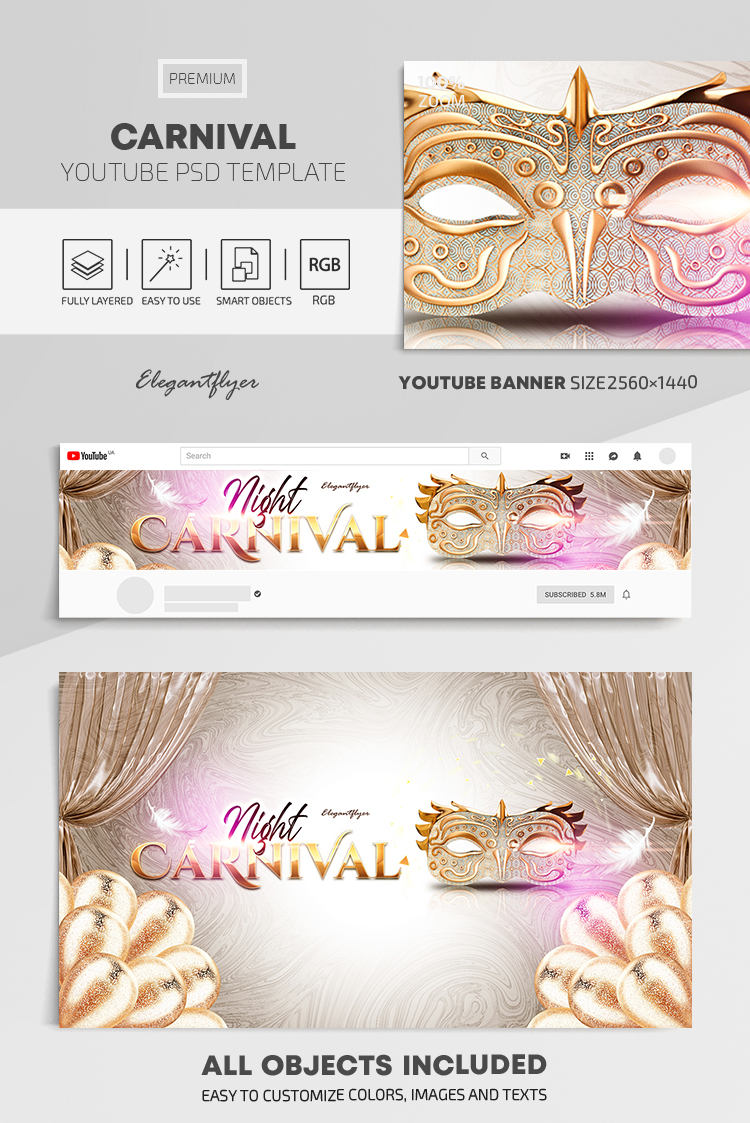 Carnival – Youtube Channel banner PSD Template