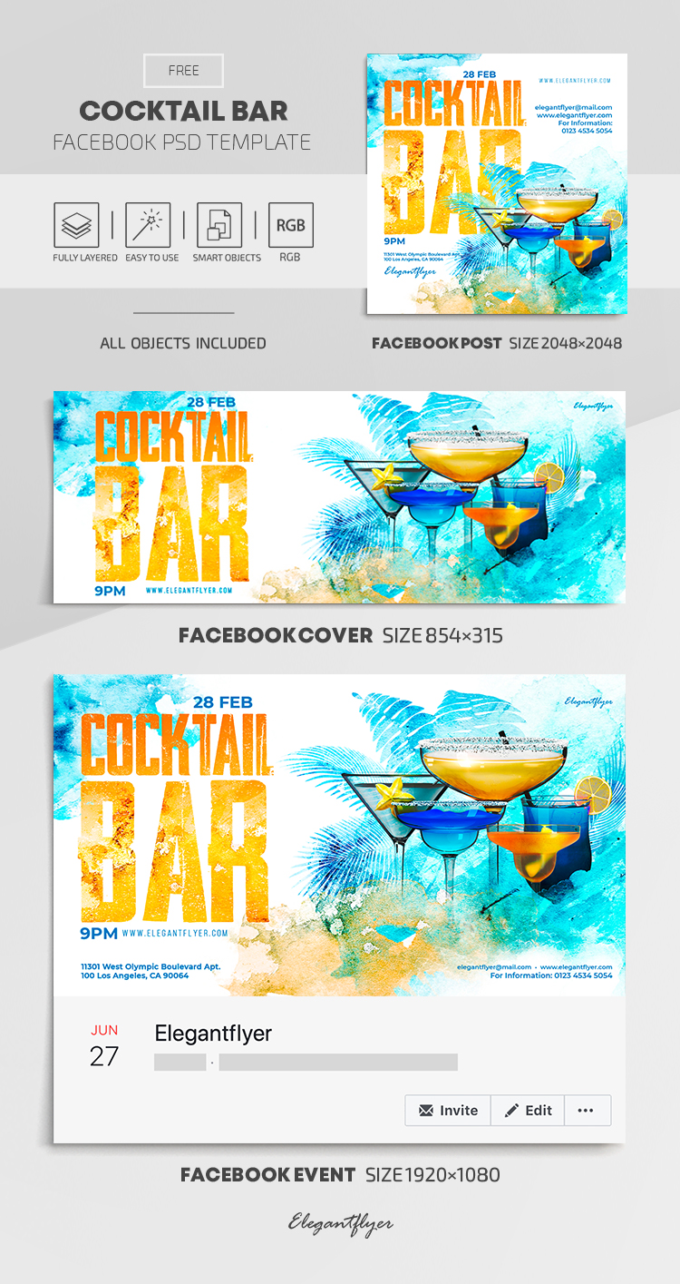 Cocktail Bar – Free Facebook Cover Template in PSD + Post + Event cover