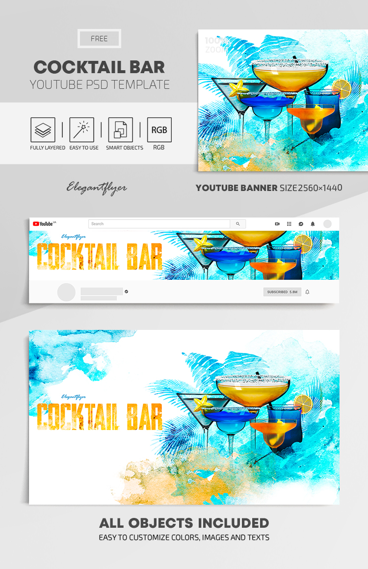 Cocktail Bar – Free Youtube Channel banner PSD Template