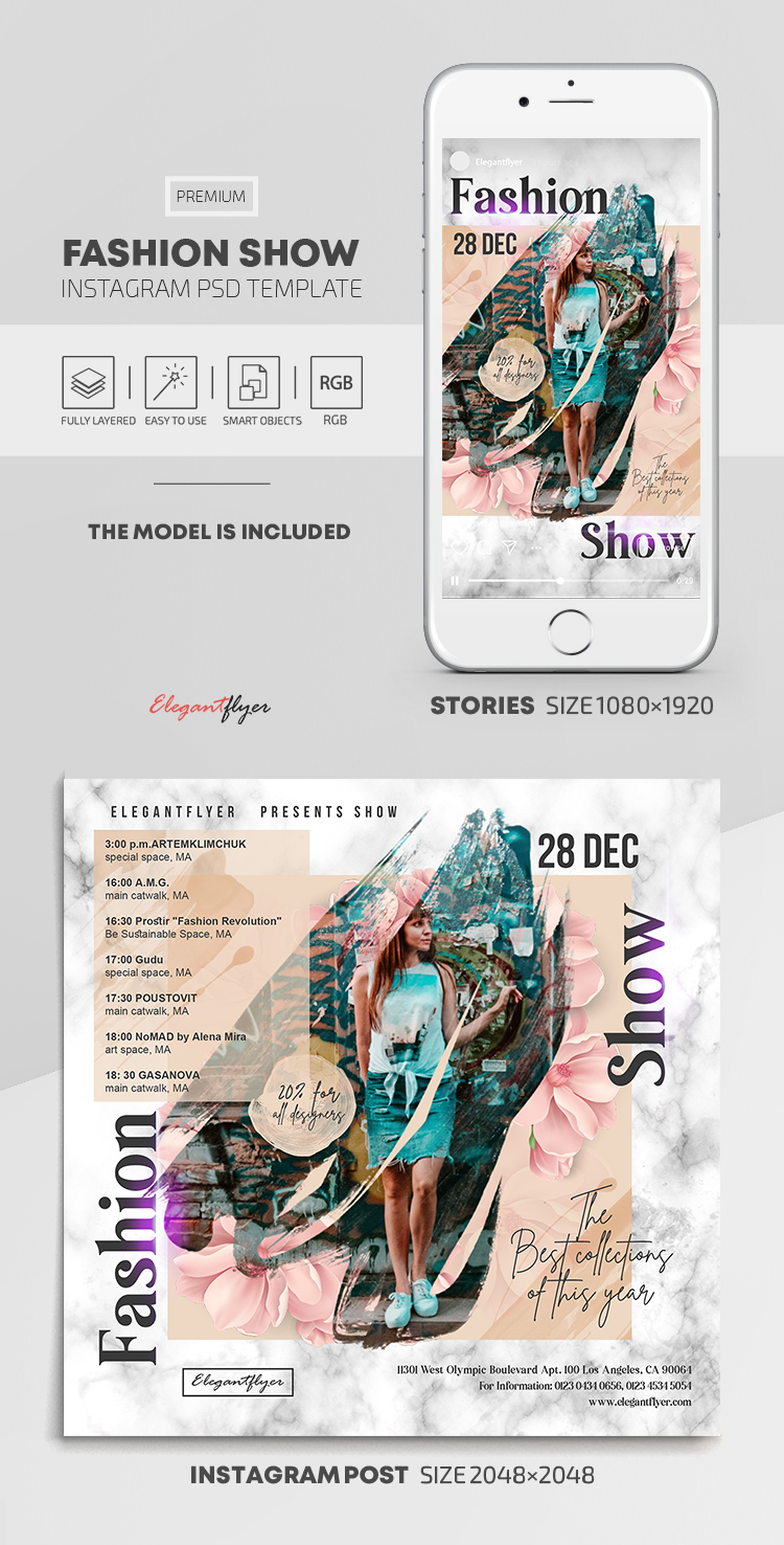 Fashion Show – Instagram Stories Template in PSD + Post Templates