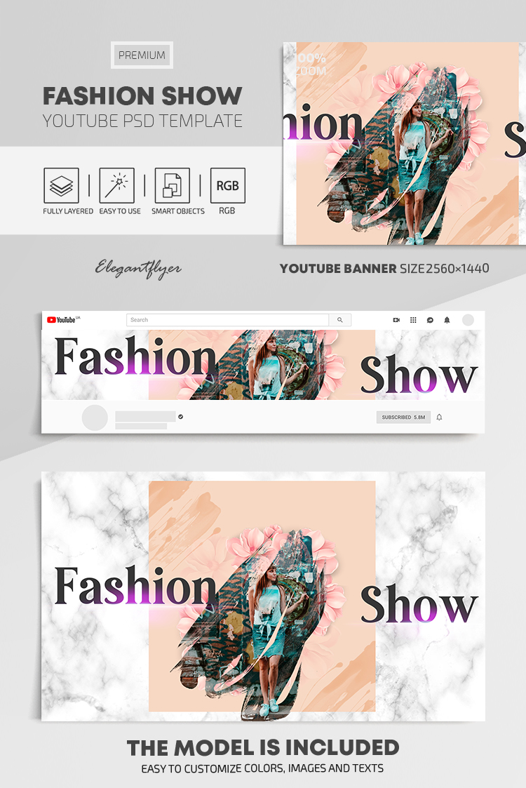 Fashion Show – Youtube Channel banner PSD Template