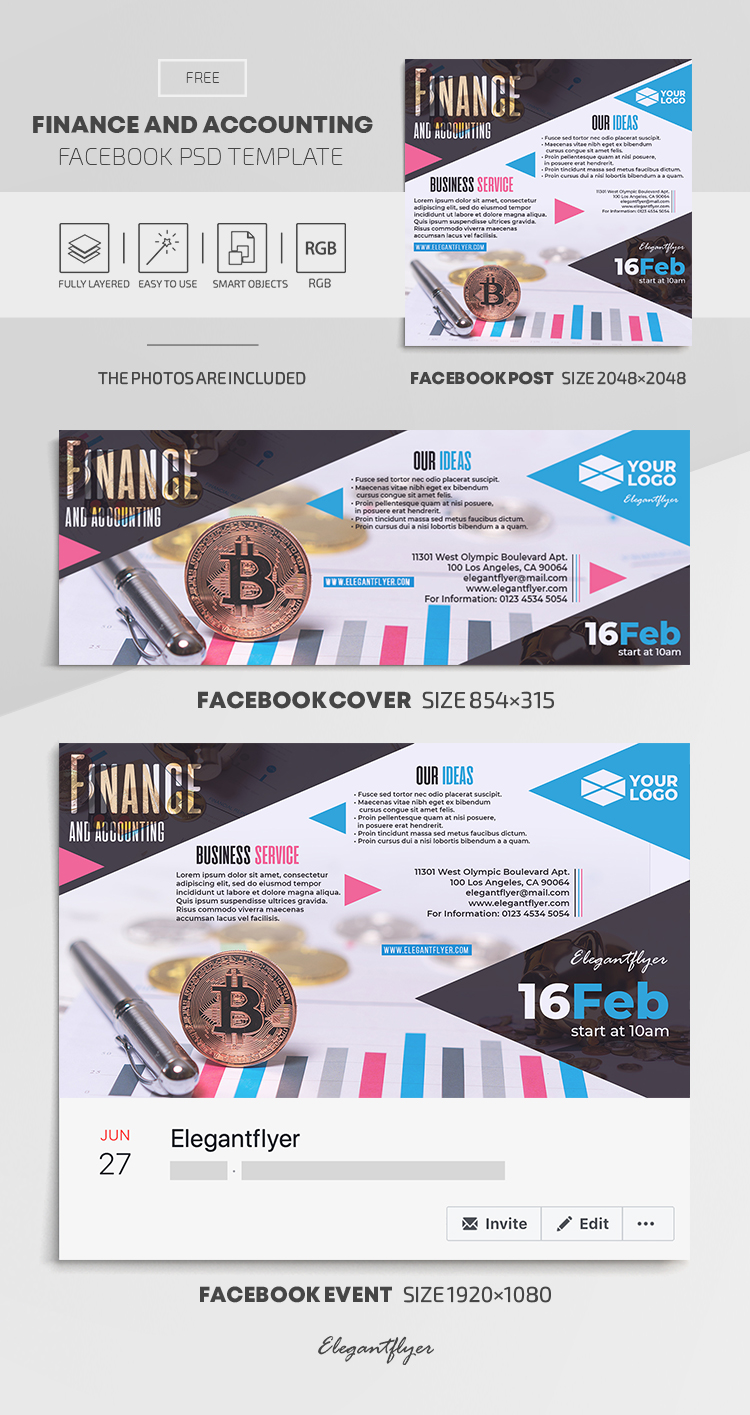 Finance and Accounting – Free Facebook Cover Template in PSD + Post + Event cover