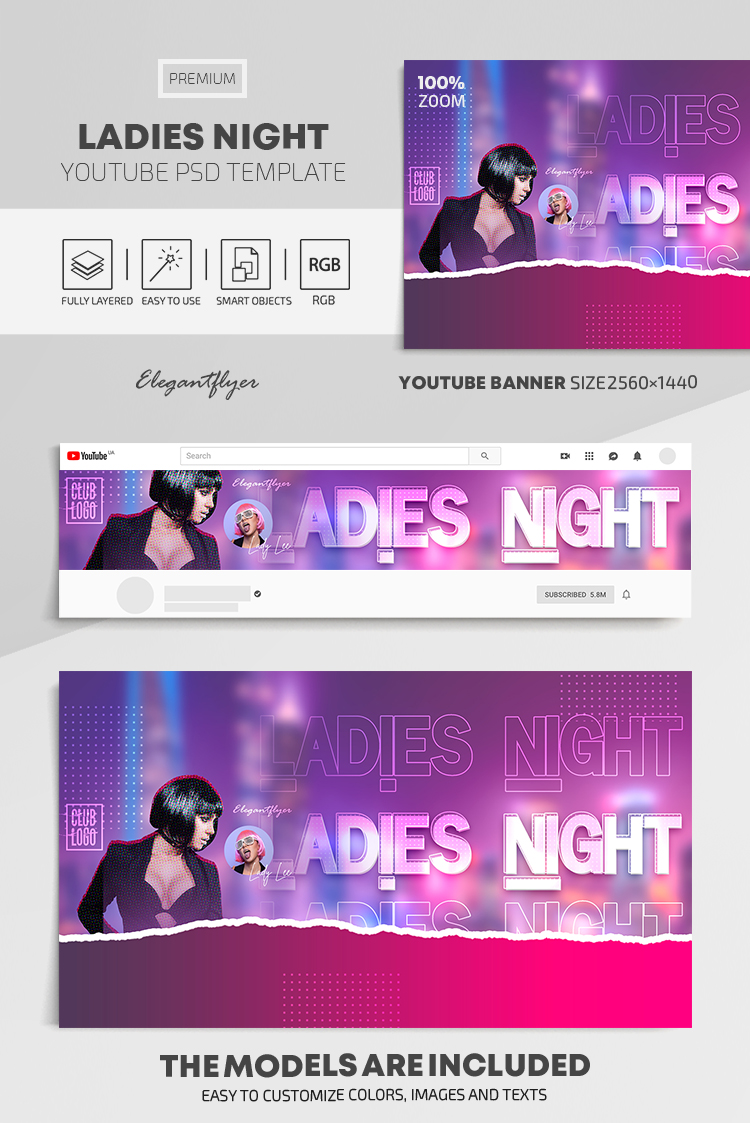 Ladies Night – Youtube Channel banner PSD Template