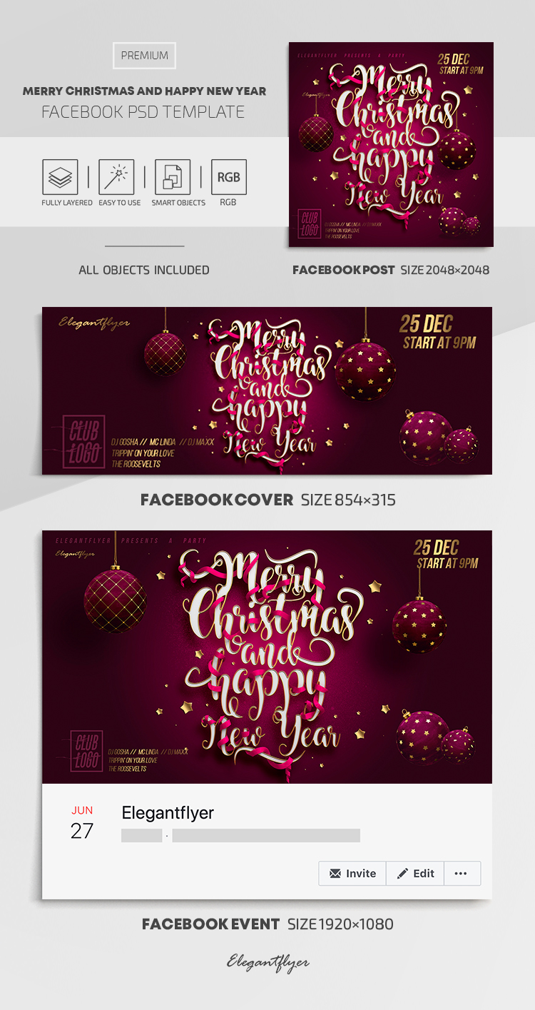 Merry Christmas and Happy New Year! – Facebook Cover Template in PSD + Post + Event cover