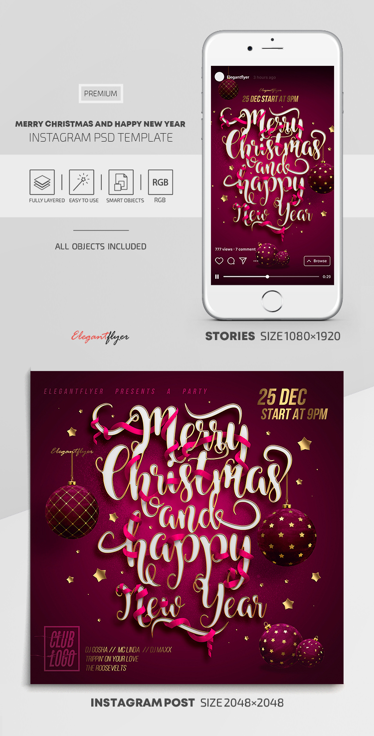 Merry Christmas and Happy New Year! – Instagram Stories Template in PSD + Post Templates