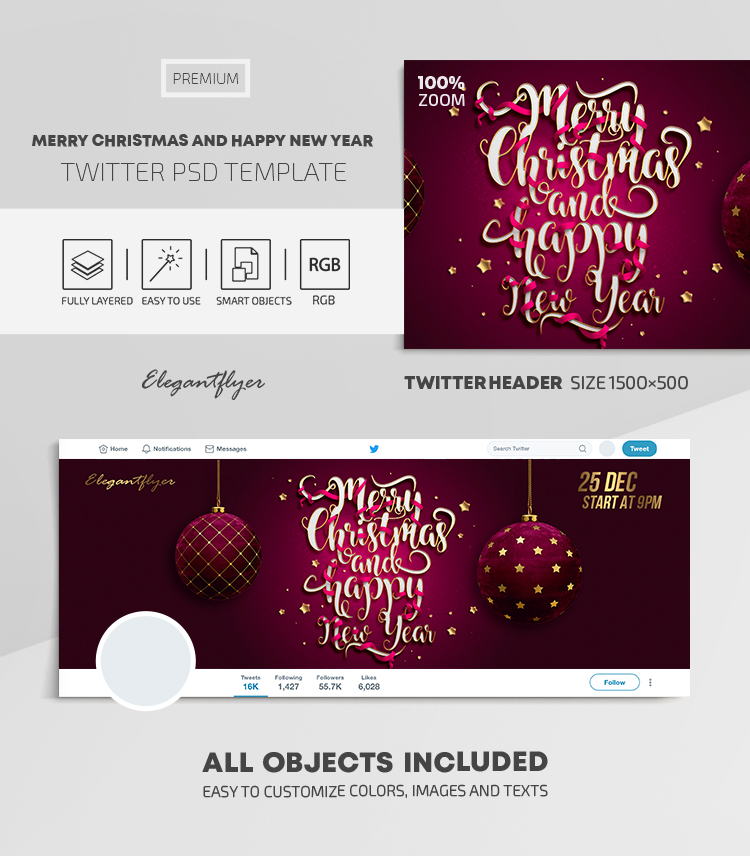 Merry Christmas and Happy New Year! – Twitter Header PSD Template