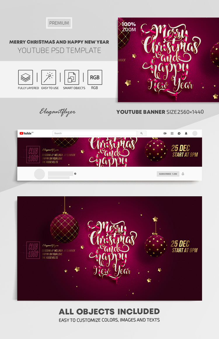 Merry Christmas and Happy New Year! – Youtube Channel banner PSD Template