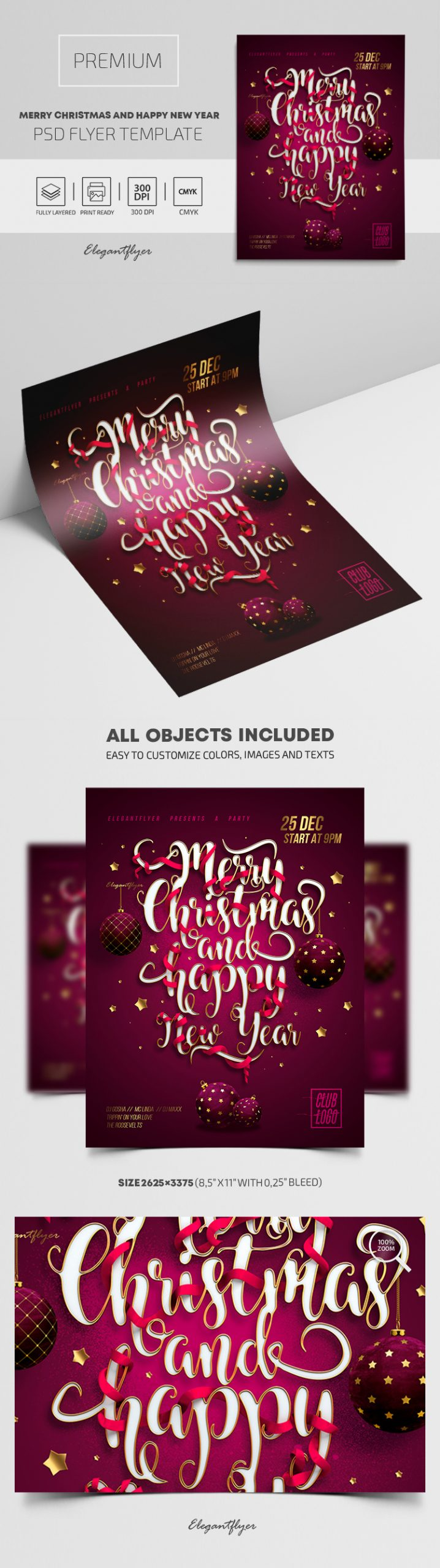 Merry Christmas and Happy New Year! – Premium PSD Flyer Template