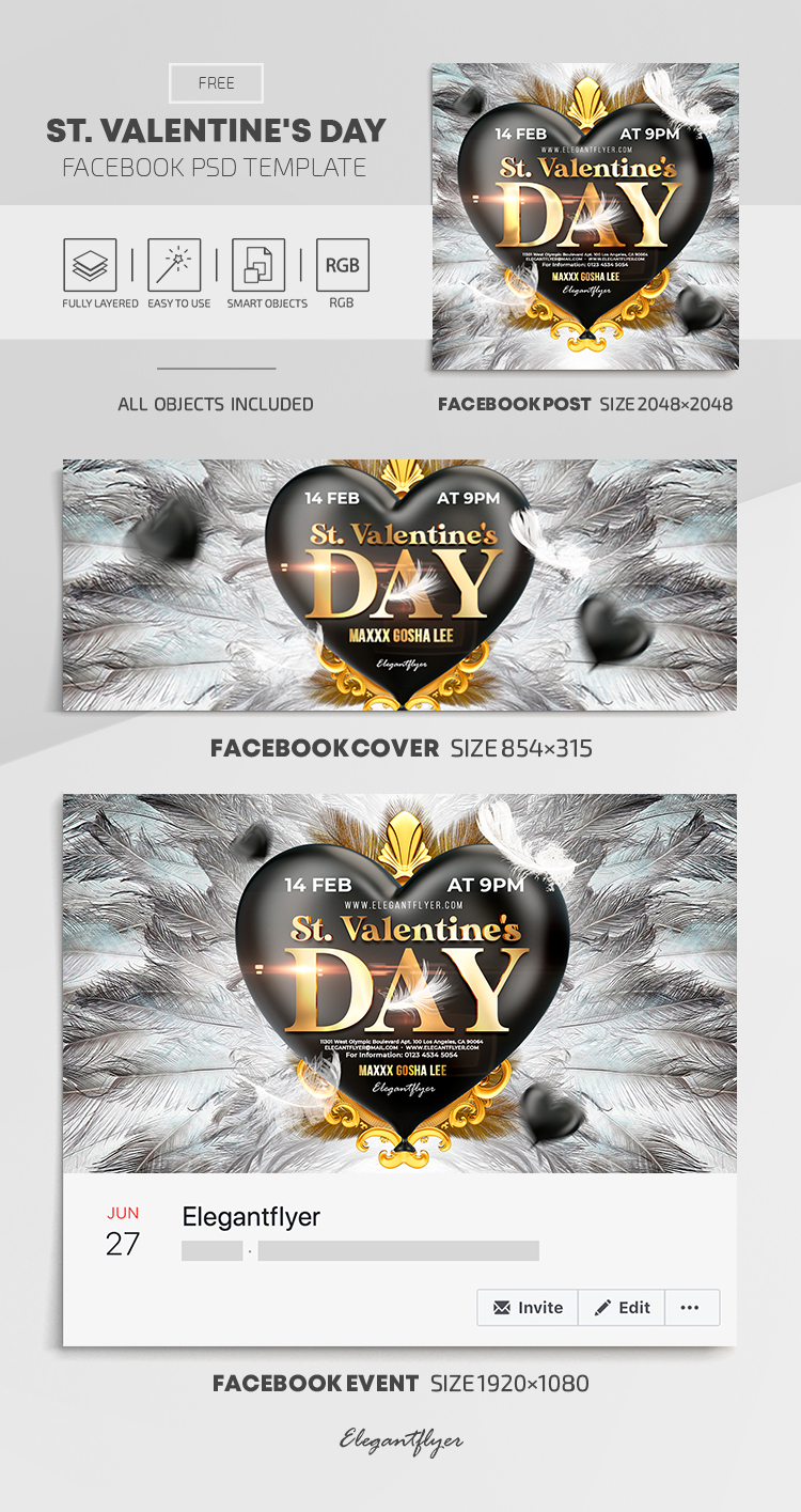 St. Valentine's Day – Free Facebook Cover Template in PSD + Post + Event cover