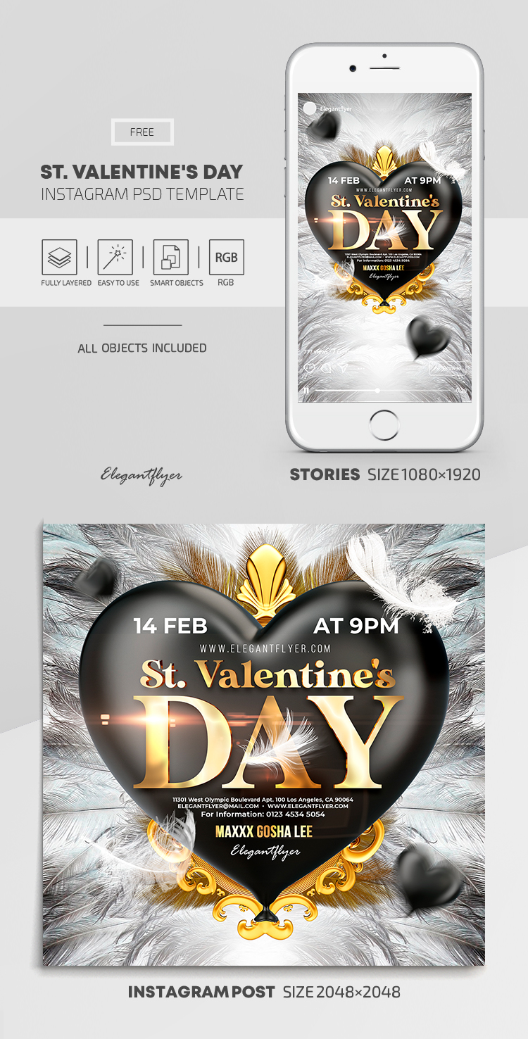 St. Valentine's Day – Free Instagram Stories Template in PSD + Post Templates