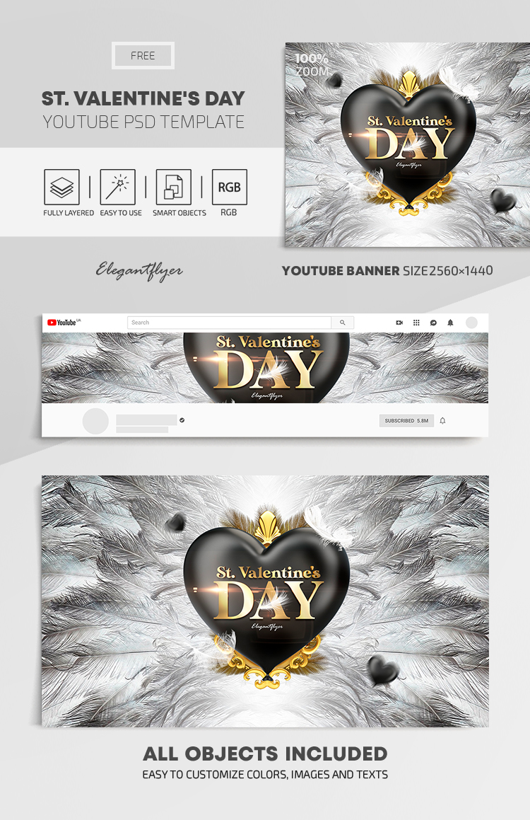 St. Valentine's Day – Free Youtube Channel banner PSD Template