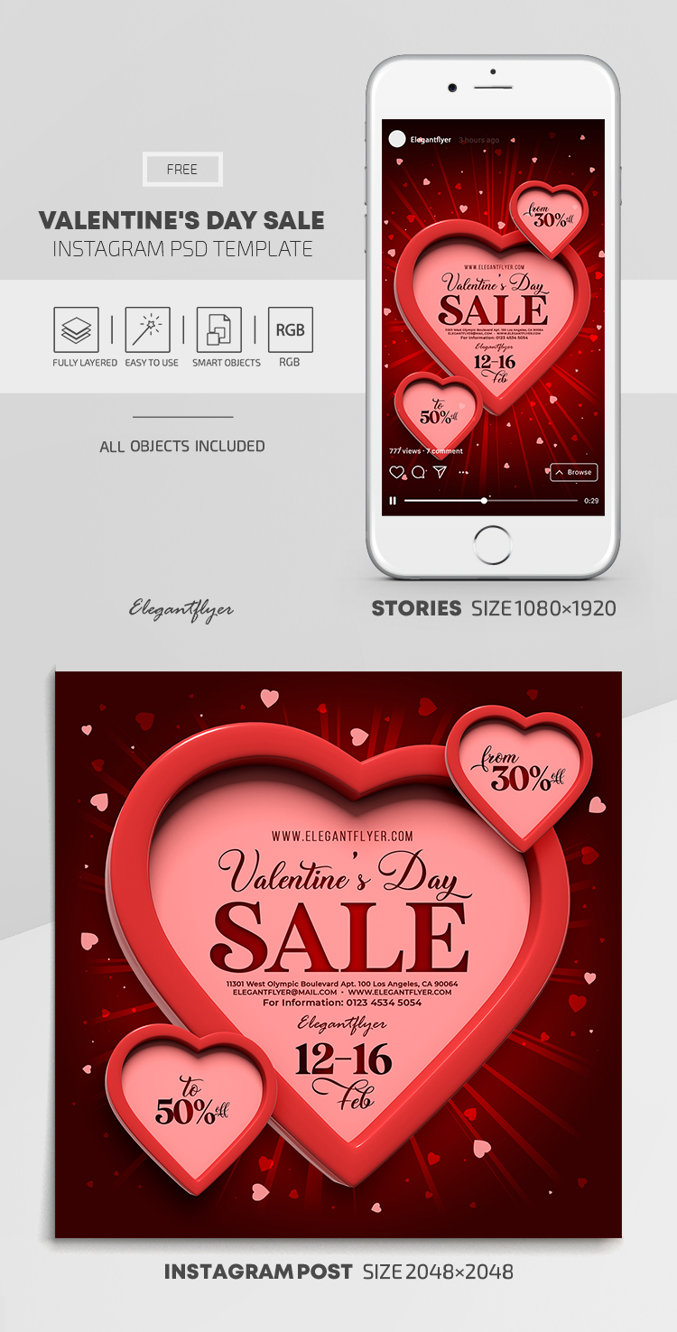 Valentine's Day Sale – Free Instagram Stories Template in PSD + Post Templates