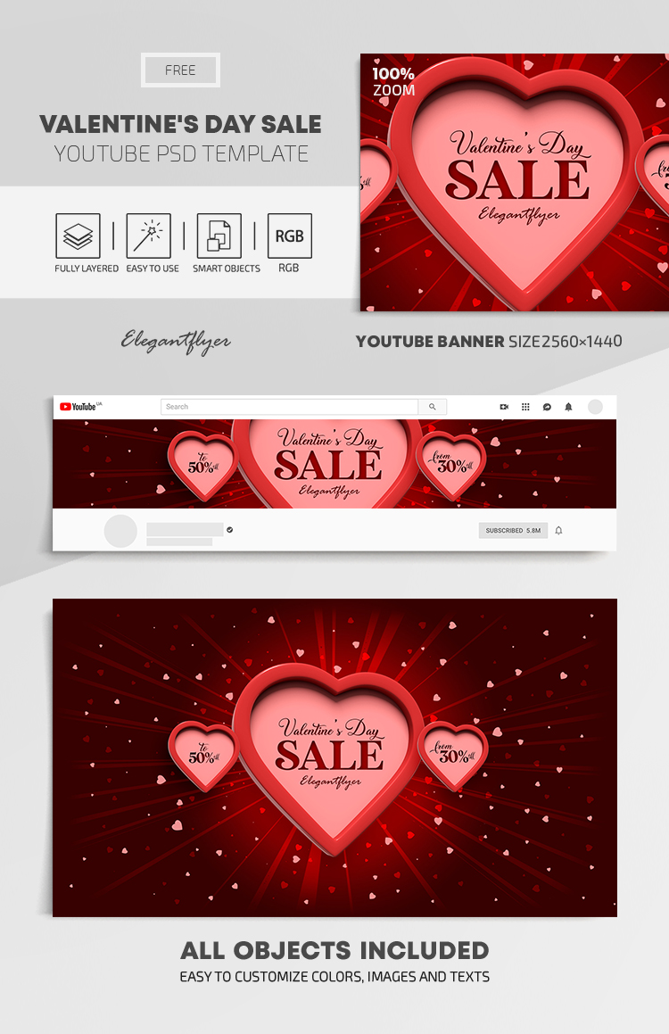 Valentine's Day Sale – Free Youtube Channel banner PSD Template