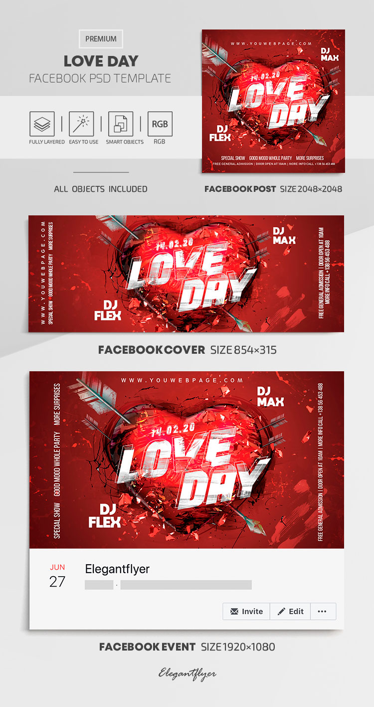Love Day – Facebook Cover Template in PSD + Post + Event cover