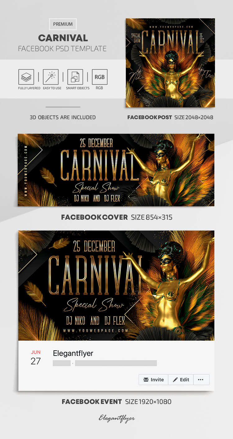 Carnival – Facebook Cover Template in PSD + Post + Event cover
