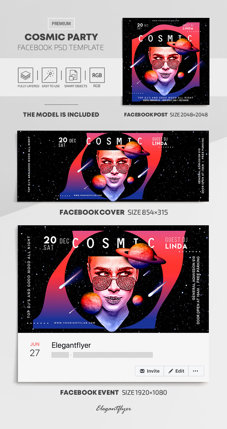 Cosmic Party – Facebook Cover Template in PSD + Post + Event cover