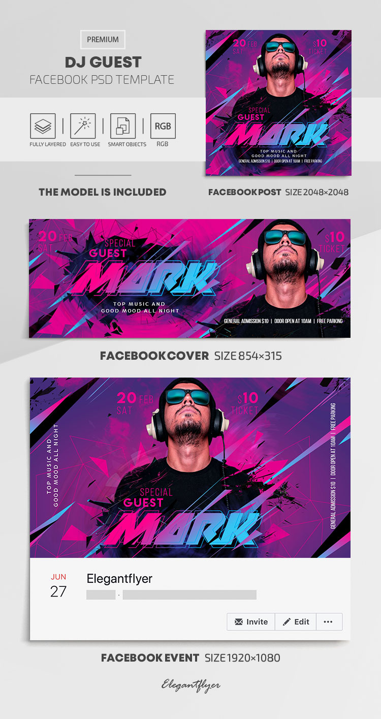 Dj Guest – Facebook Cover Template in PSD + Post + Event cover