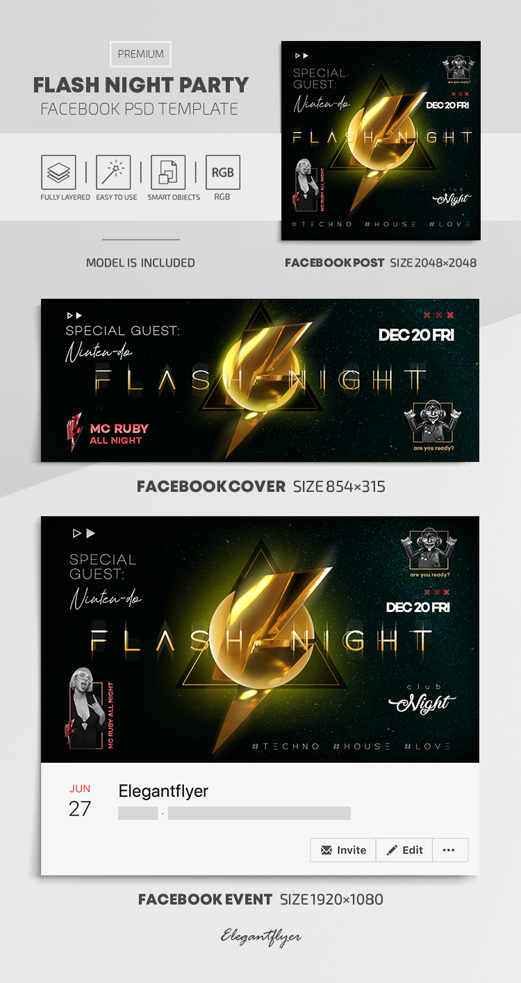 Flash Night Party – Facebook Cover Template in PSD + Post + Event cover