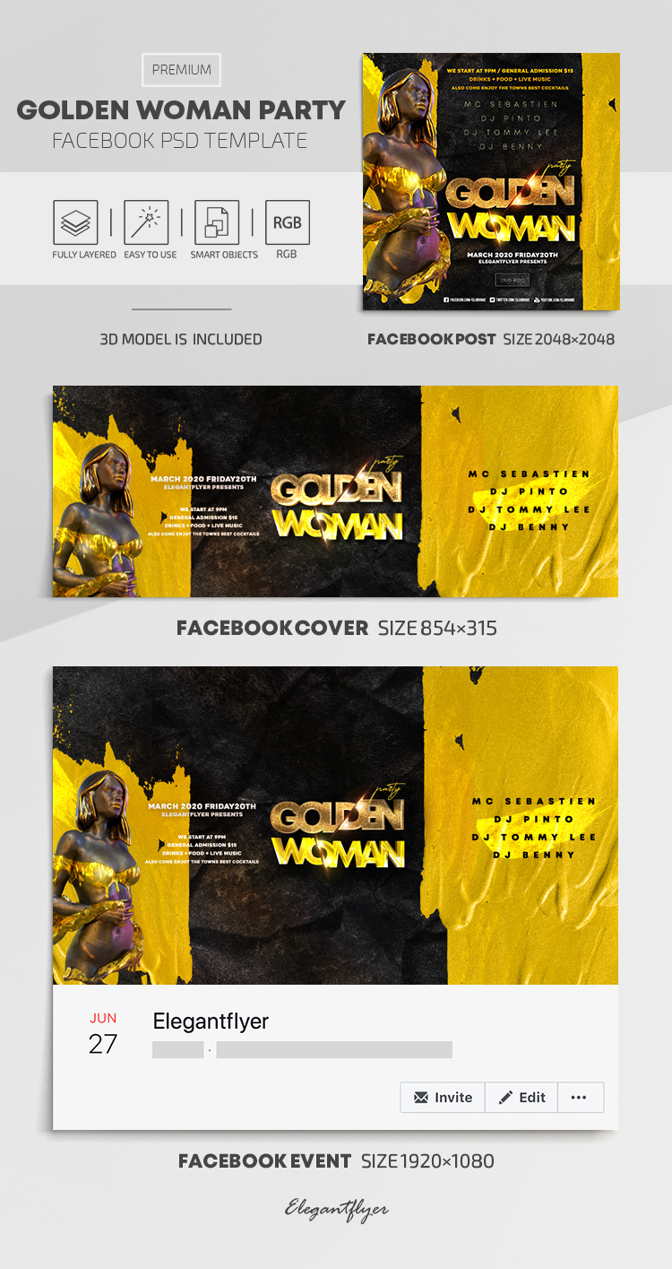 Golden Woman Party – Facebook Cover Template in PSD + Post + Event cover