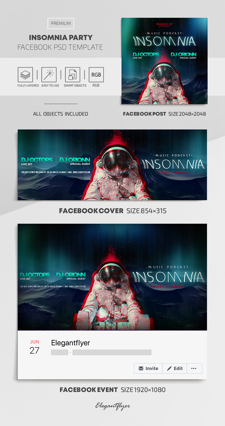 Insomnia Party – Facebook Cover Template in PSD + Post + Event cover