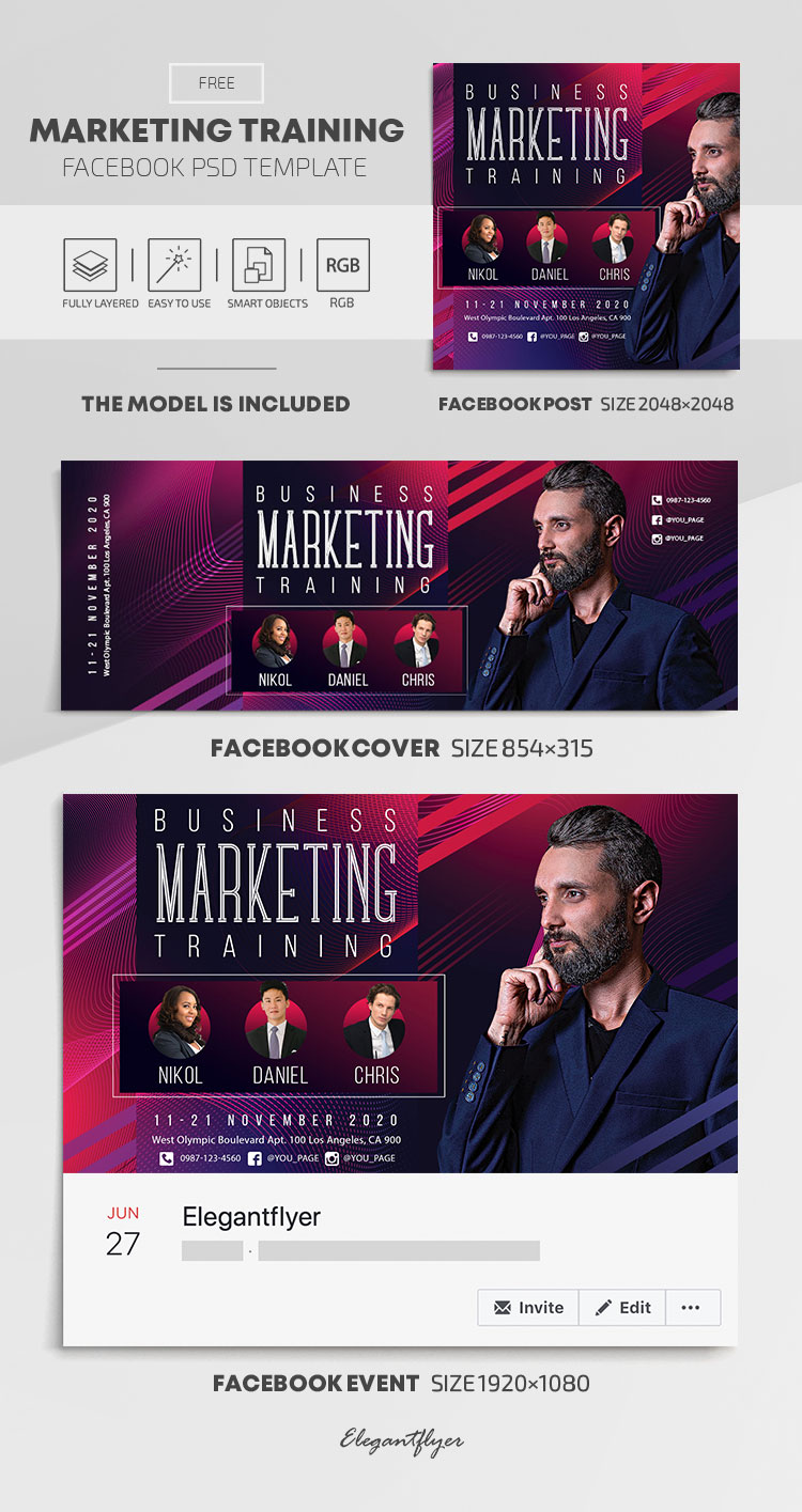Marketing Training – Free Facebook Cover Template in PSD + Post + Event cover