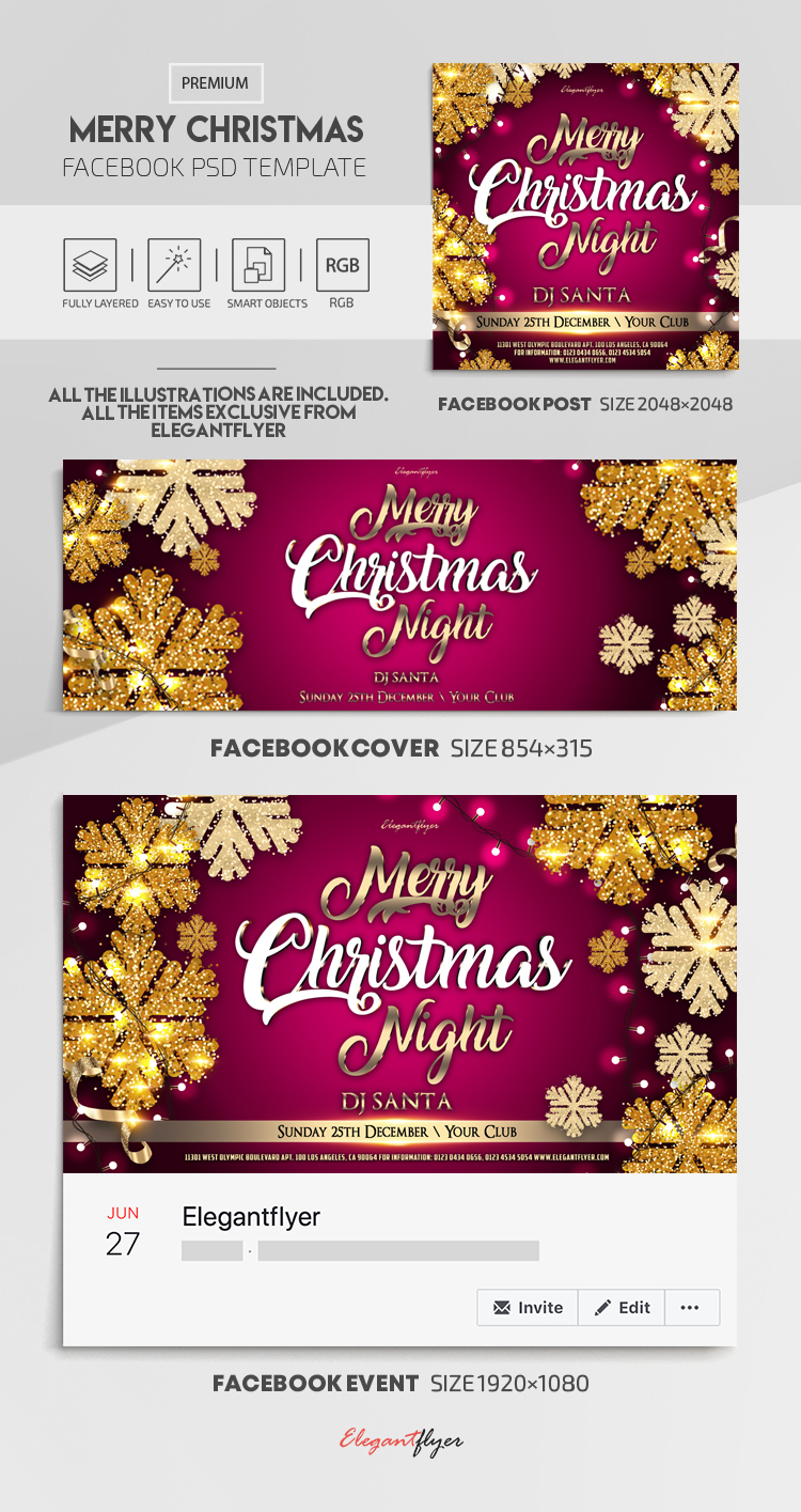 Merry Christmas Night – Facebook Cover Template in PSD + Post + Event cover