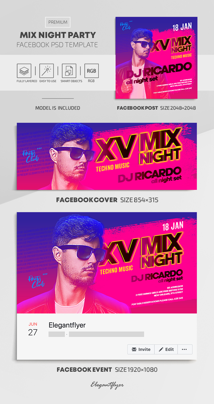 Mix Night Party – Facebook Cover Template in PSD + Post + Event cover