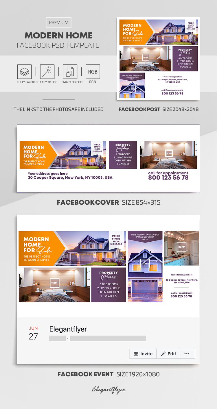 Modern Home – Facebook Cover Template in PSD + Post + Event cover