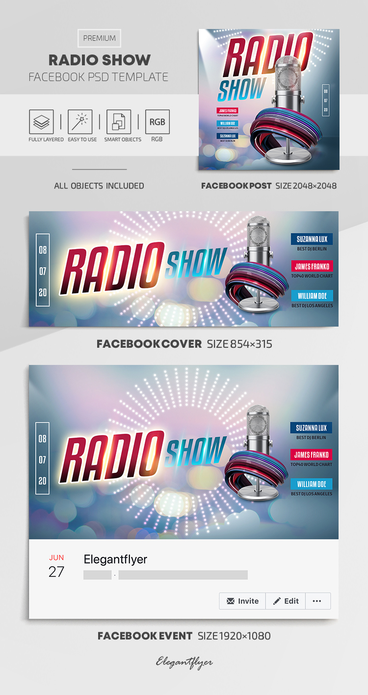 Radio Show – Facebook Cover Template in PSD + Post + Event cover