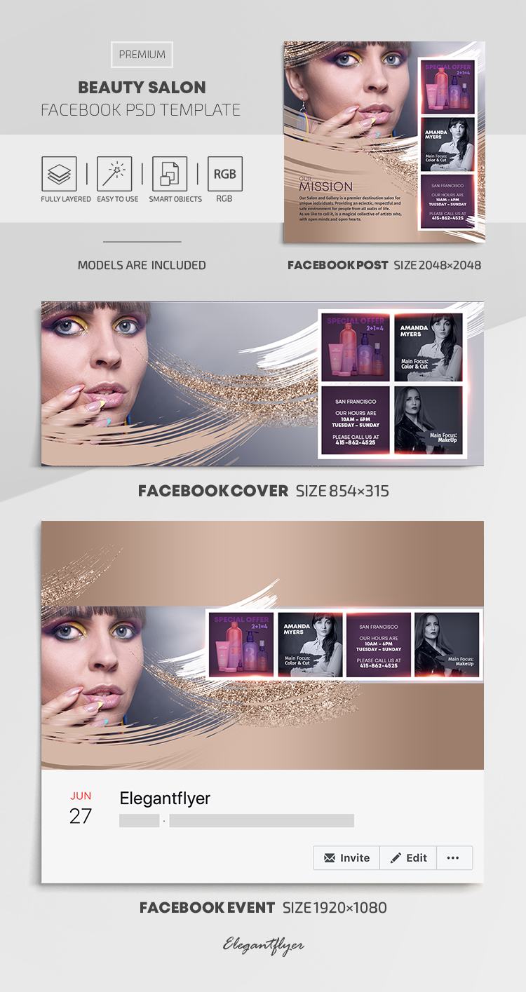Salon Beauty – Facebook Cover Template in PSD + Post + Event cover