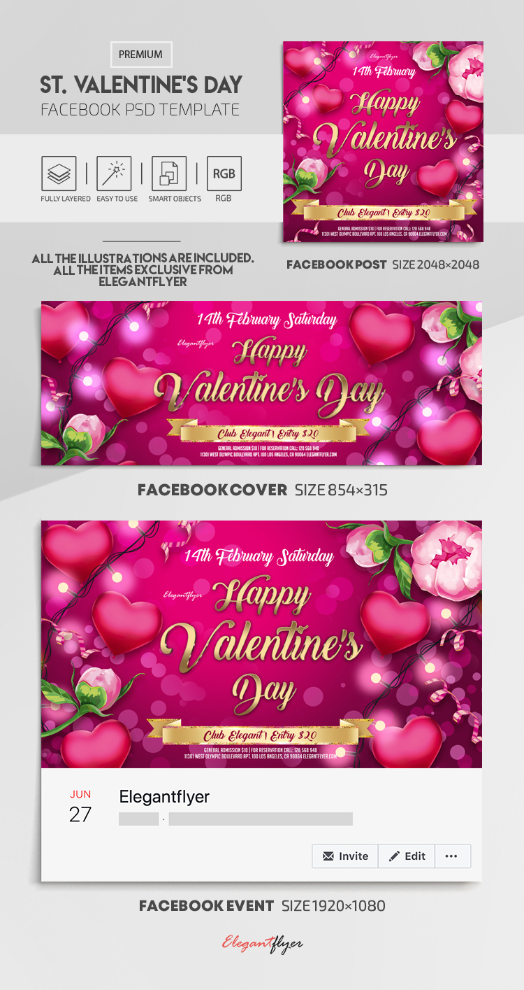 St. Valentine's Day – Facebook Cover Template in PSD + Post + Event cover