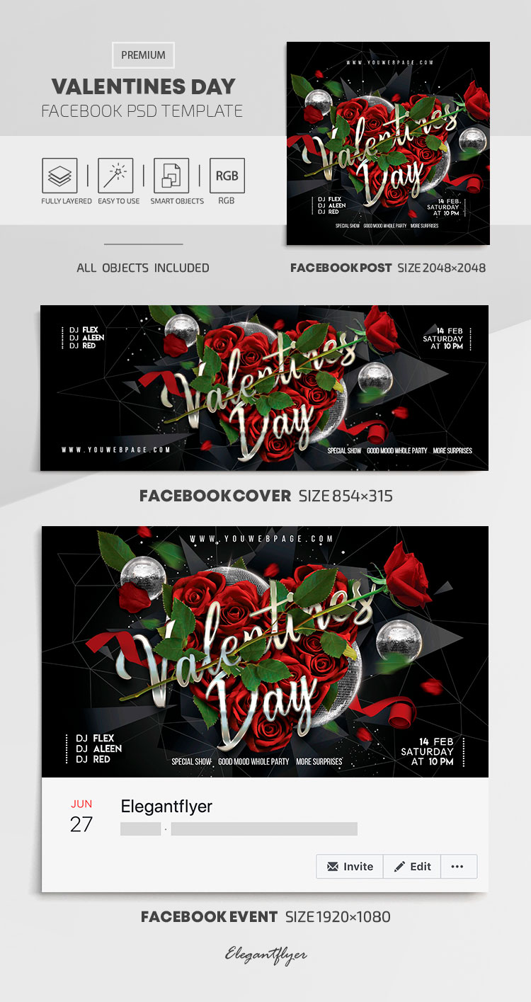 Valentines Day – Facebook Cover Template in PSD + Post + Event cover
