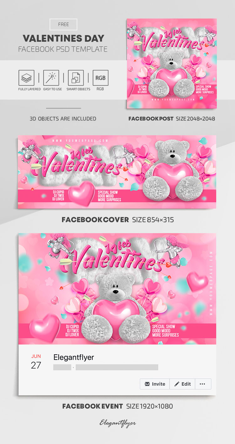Valentines Day – Free Facebook Cover Template in PSD + Post + Event cover