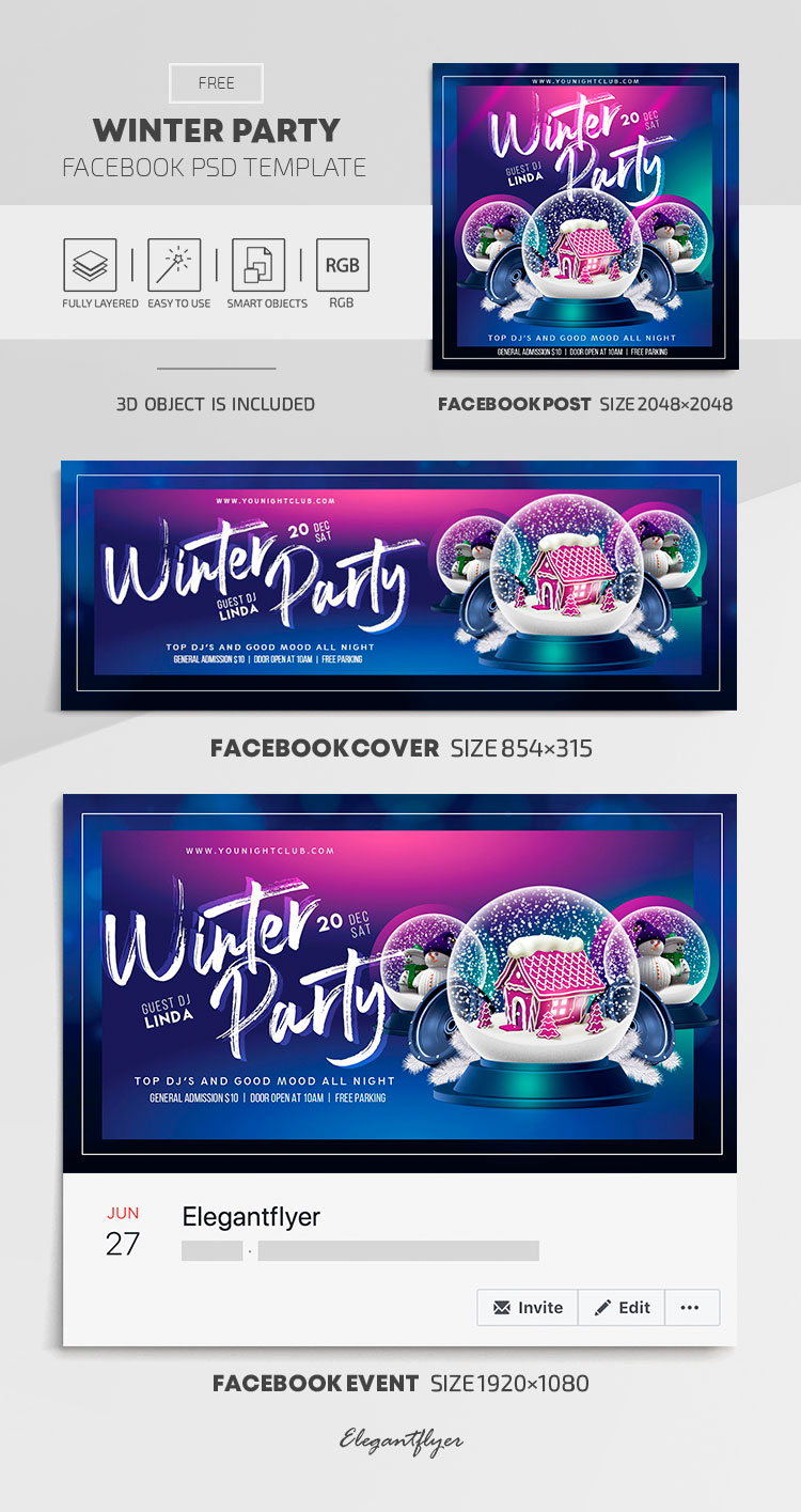 Winter Party – Free Facebook Cover Template in PSD + Post + Event cover