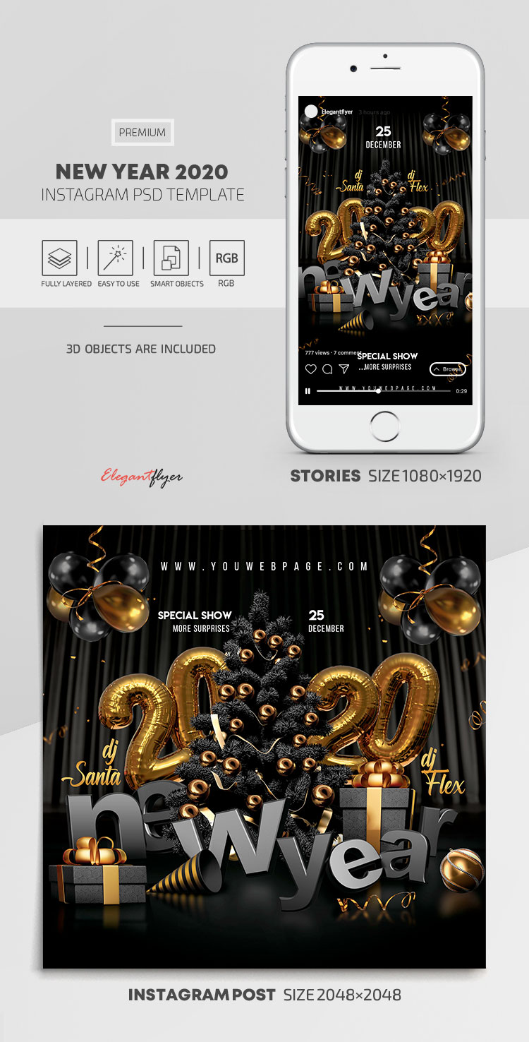 New Year 2020 – Instagram Stories Template in PSD + Post Templates