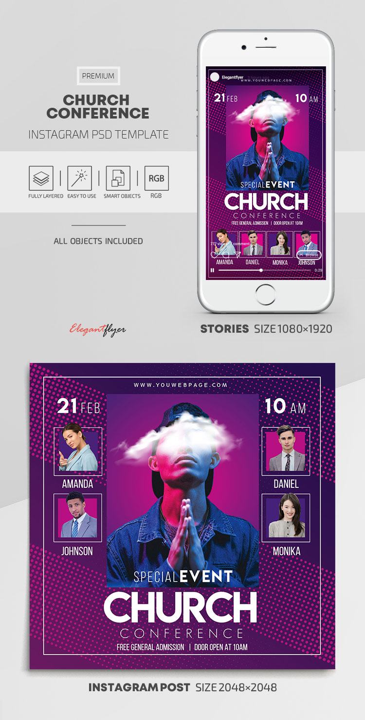 Church Conference – Instagram Stories Template in PSD + Post Templates