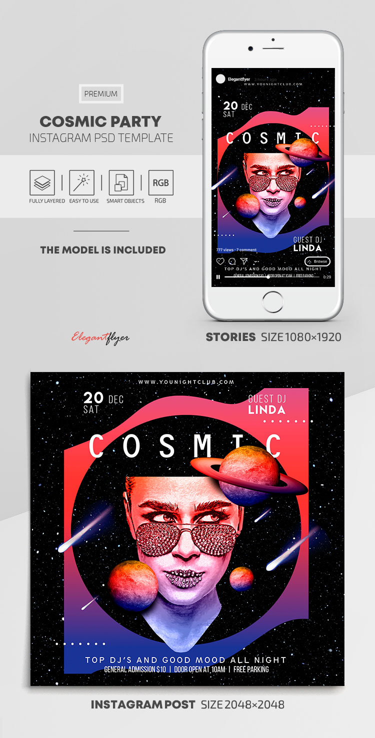 Cosmic Party – Instagram Stories Template in PSD + Post Templates