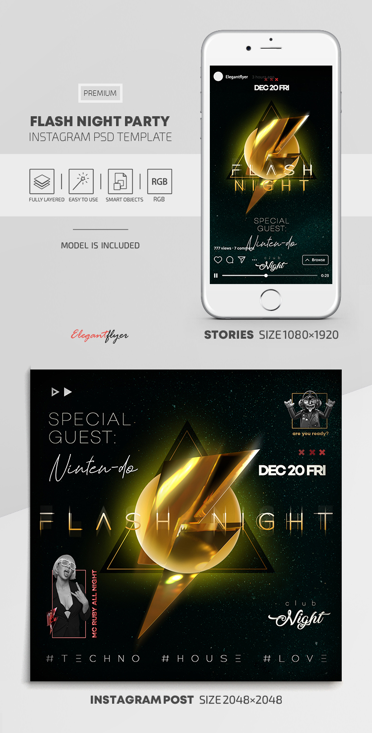Flash Night Party – Instagram Stories Template in PSD + Post Templates