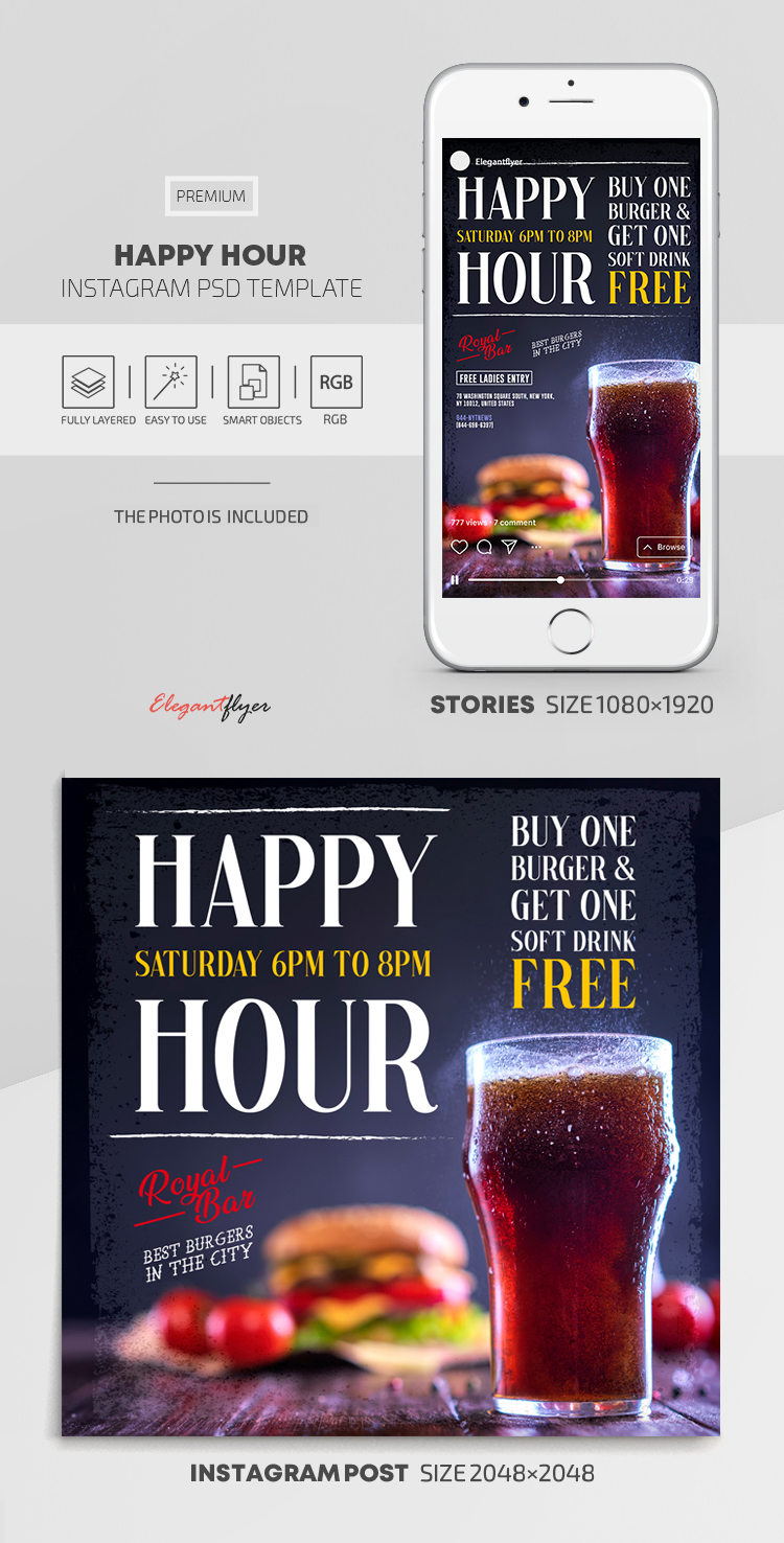 Happy Hours – Instagram Stories Template in PSD + Post Templates